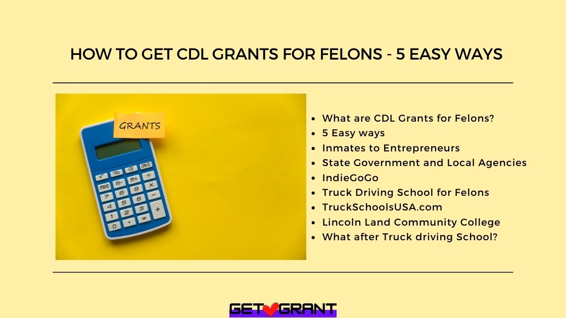 How To Get CDL Grants For Felons - 5 Easy ways